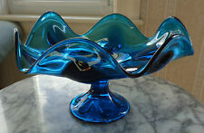 Vintage Viking Glass Blue Pedestal Compote with Deep Fluted Edge