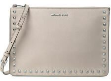 Michael Kors Ava Stud Convertible Leather Crossbody Bag Clutch Cement New NWT