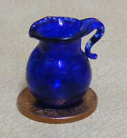 1:12 Small Blue Glass Jug Dolls House Miniature Kitchen Drink Accessory G29a