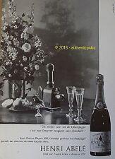 PUBLICITE HENRI ABELE CHAMPAGNE IMPERIAL CLUB REIMS VANDER VEKEN DE 1961 AD PUB