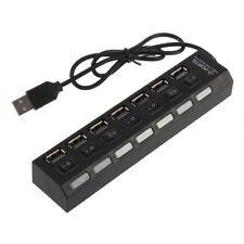 Mini Black 7Port USB 2.0 High Speed HUB ON/OFF Sharing Switch New CA