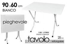 Tavolino Pieghevole in Resina e Acciaio 90x60 cm Esterni Campeggio Bianco giardi