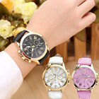 Fashion Women's GENEVA Roman Stainless Steel Leather Analog Quartz Wrist Watch