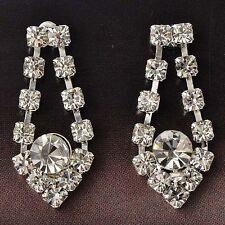 Dangle Clear Swarovski Crystal Gold Filled heart Stud Earrings Wedding earings
