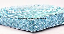 Indian Floor Cushion Cover Green Ombre Mandala Large Square Pillow Ottoman Pouf