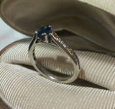 $1325 Gabriel Co 14k White gold Blue Sapphire Diamond Engagement semi mount ring