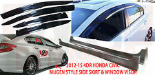 NEW 2012-2015 HONDA CIVIC SEDAN MUGEN STYLE SIDE SKIRT & WINDOW VISOR SET