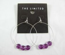 New Pair of Hoop Earrings with Purple Beads from The Limited #E1174