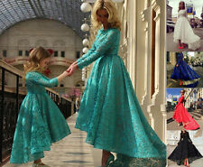 Modest Hi-Lo Lace Formal Evening Gown Long Sleeves Bridesmaid Prom Party Dresses