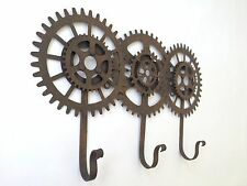 Cog and Gears Triple Hooks Industrial Vintage Steampunk Style Metal Coat Rack
