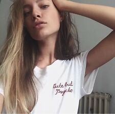 "Brandy Melville White ""Cute But Psycho"" Embroidered Fitted Shirt Top"