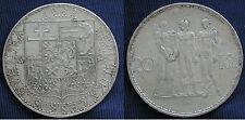 MONETA COIN CECOSLOVACCHIA CESKOSLOVENSKA 20 KORUN 1933 ARGENTO SILVER SILBER