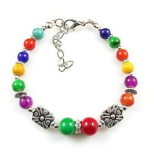 HOT Free shipping New Tibet silver multicolor jade turquoise bead bracelet S68