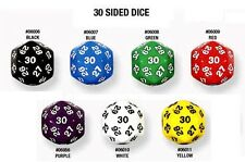Single Colored Die 30 Sided Dice Numbered D&D RPG Game