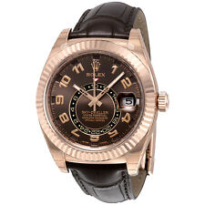 Rolex Sky Dweller Brown Dial GMT 18k Rose Gold Leather Mens Watch 326135BRAL