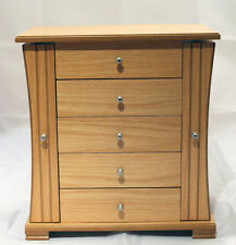 NEW LARGE LADIES LIGHT OAK WOODEN JEWELLERY BOX ARMOIRE CHEST OF DRAWERS