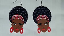 Black Diva with red headband & lip color afro (natural hair) wood earrings