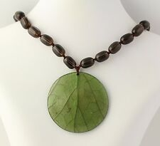 New Beaded Necklace Pendant Smoky Quartz Resin Leaf on Wood Brown & Green Nature