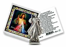 Divine Mercy of Jesus Metal  Pocket Statue w/ Prayer Card I Trust In You NEW!