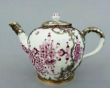 Kleine Meissen Teekanne, 18. Jahrhundert, purpur Strohblumen, Silbermontierung