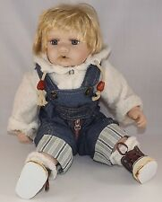 "Cathay Collection Baby Boy overalls Doll 16"" Porcelain"