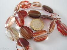 1 filo  ovali piatti in vetro soffiato rosso con inclusioni dorate di 25x18 mm