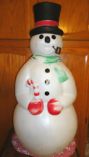 "34"" EMPIRE SNOWMAN CANDY CANE PIPE TOP HAT CHRISTMAS BLOW MOLD LIGHT UP DECOR"