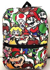 "Super Mario Bros 16"" Backpack Book Bag School Travel Comic Luigi Yoshi Bowser"