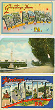 Reading, PA 2 Big Letter Greetings & Fireman's Monument in City Park, lot of 3