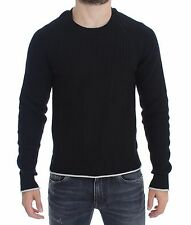 NWT $900 DOLCE & GABBANA Sweater Black Cotton Silk Knitted Pullover Top IT50 / L
