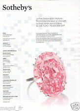 """Publicité 2014 - SOTHEBY'S - Le diamant """"Pink Dream"""""""