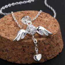 Bijou collier necklace  pendentif ailes d'ange coeur  argent 925 top  qualité