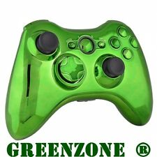 Custom Chrome Green Ful​l Shell & Parts For Xbox 360 Wireless Controller Mod Kit