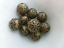 6 x Round Filigree Iron Beads Antique Bronze 20mm Nickel Free Metal Beads Crafts