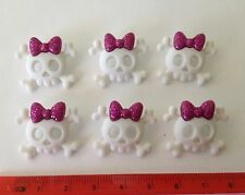 White Skulls with Pink Glittering Bows Novelty Buttons by Dress It Up 5787