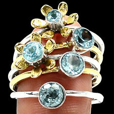 Two Tone - Blue Topaz 925 Sterling Silver Ring Jewelry s.8 RR12723