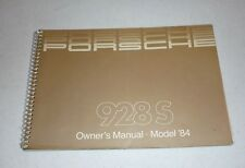 1984 PORSCHE 928 S OWNERS MANUAL 84 928S GUIDE RARE