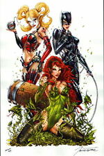 GOTHAM CITY SIRENS QUINN IVY CATWOMAN Print HAND SIGNED by Jamie Tyndall w COA