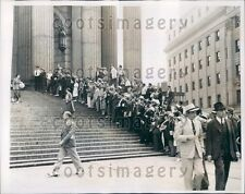 1938 Crowd Outside Court NYC Tammany Leader James Hines Trial Press Photo