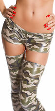 SEXY MICRO SHORTS CAMOUFLAGE  HOT PANTS CHARM ARMY STRETCHY PANTY CLUB WEAR S