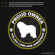 Proud Owner Polish Lowland Sheepdog Sticker Decal Adhesive Vinyl dog canine pet