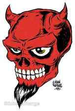 Mini Size Alan Forbes Sticker Decal Devil Skull AF10B