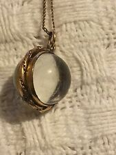 Victorian  Gold Rock Crystal Pool Of Light Locket And  Gold Chain