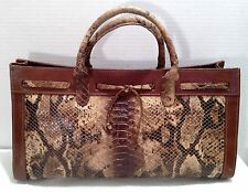 Vintage Claudia Firenze Italy Brown Python Snakeskin Leather Medium Satchel Bag