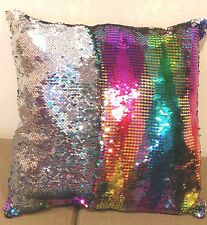 "Sequin Mermaid Throw Pillow with fill Exclusive color Rainbow/silver 16""x16"""