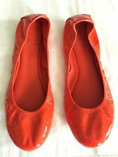 TORY BURCH Orange BALLET Flats PATENT Leather Slippers Women's Size 10