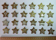 Holzsterne - GOLD - mit Zahlen 1 bis 24 für Adventskalender, Weihnachts - Deko
