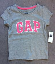 GAP- GREY T.SHIRT WITH PINK GAP LOGO ACROSS FRONT & SHORT SLEEVES- AGE 3y- BNWT