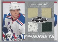 MARIAN GABORIK 2010-11 UD BLACK DIAMOND QUAD 4 PIECE 3 COLOR GAME USED JERSEY