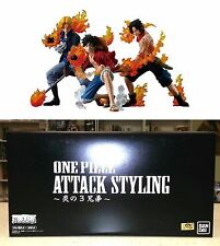 One Piece Attack Styling Flame Brothers 1 Set 3 Figures Bandai Toei Licensed New
